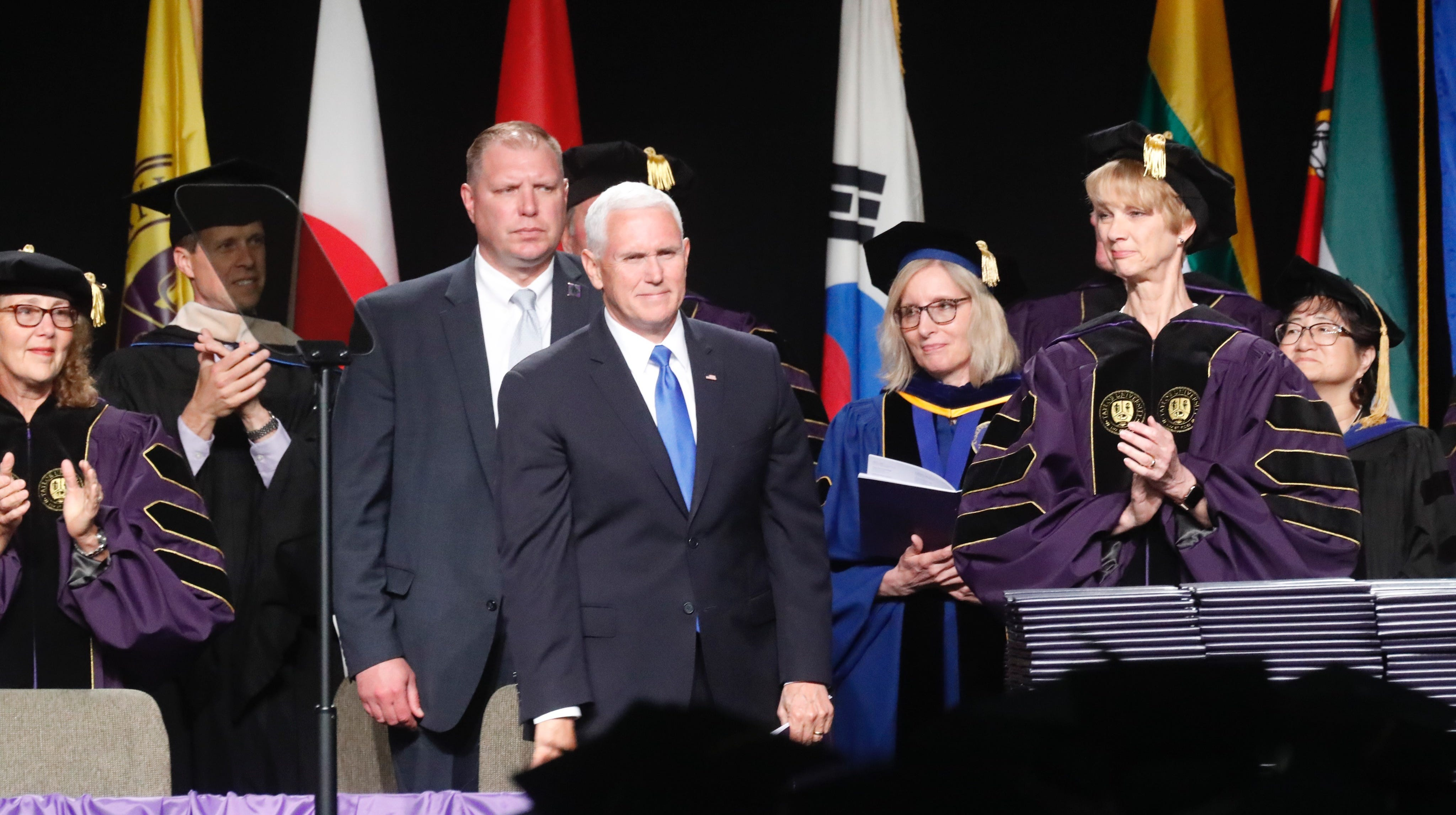Vice President Mike Pence delivered a commencement address at Taylor University on Saturday, May 18, 2019.