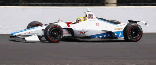 Ben Hanley (81) of Dragon Racing during practice for the Indianapolis 500 at the Indianapolis Motor Speedway on Wednesday, May 15, 2019.