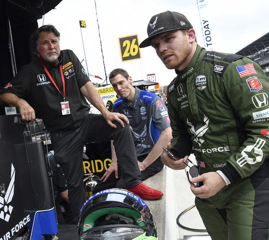 Conor Daly (25) of Andretti Autosport turned in the fastest speed of the day during Fast Friday practice for the Indianapolis 500 at the Indianapolis Motor Speedway on Friday, May 17, 2019.