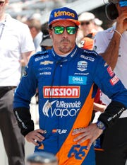 Fernando Alonso (66) of McLaren Racing following his qualifying run for the Indianapolis 500 at the Indianapolis Motor Speedway on Saturday, May 18, 2019.