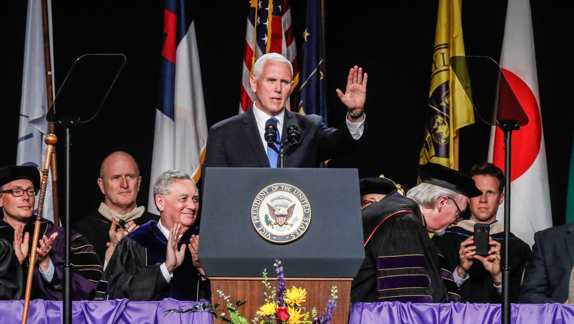 Vice President of the United States, Mike Pence, gives the commencement address during the Taylor University commencement ceremony, held inside Odle Arena, in Upland Ind. on Saturday, May 18, 2019.