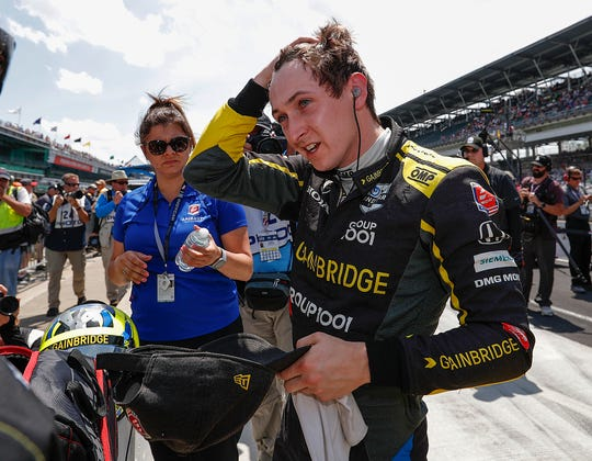 Zach Veach (26) of Andretti Autosport following his qualifying run for the Indianapolis 500 at the Indianapolis Motor Speedway on Saturday, May 18, 2019.