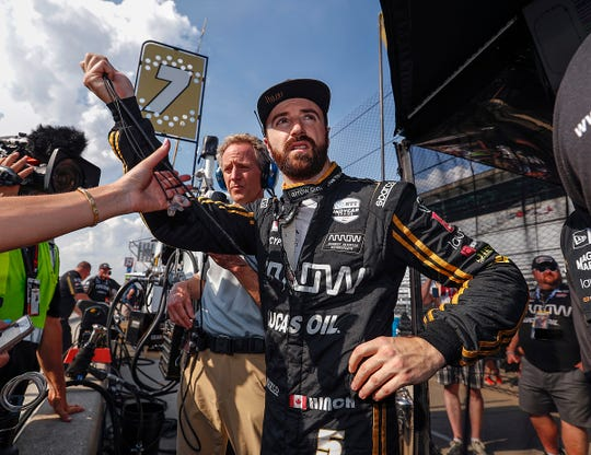 James Hinchcliffe (5) of Arrow Schmidt Peterson Motorsports following his last qualifying run for the Indianapolis 500 at the Indianapolis Motor Speedway on Saturday, May 18, 2019.