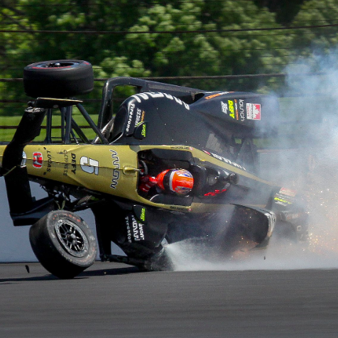 James Hinchcliffe crashed during his second Indy 500 qualifying lap.