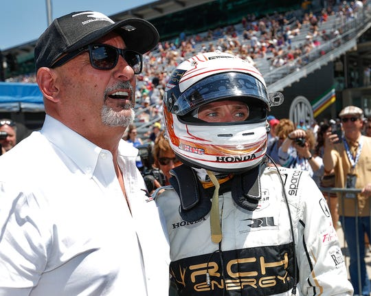 Jordan King (42) of Rahal Letterman Lanigan Racing with Bobby Rahal, left, following his qualifying run for the Indianapolis 500 at the Indianapolis Motor Speedway on Saturday, May 18, 2019.