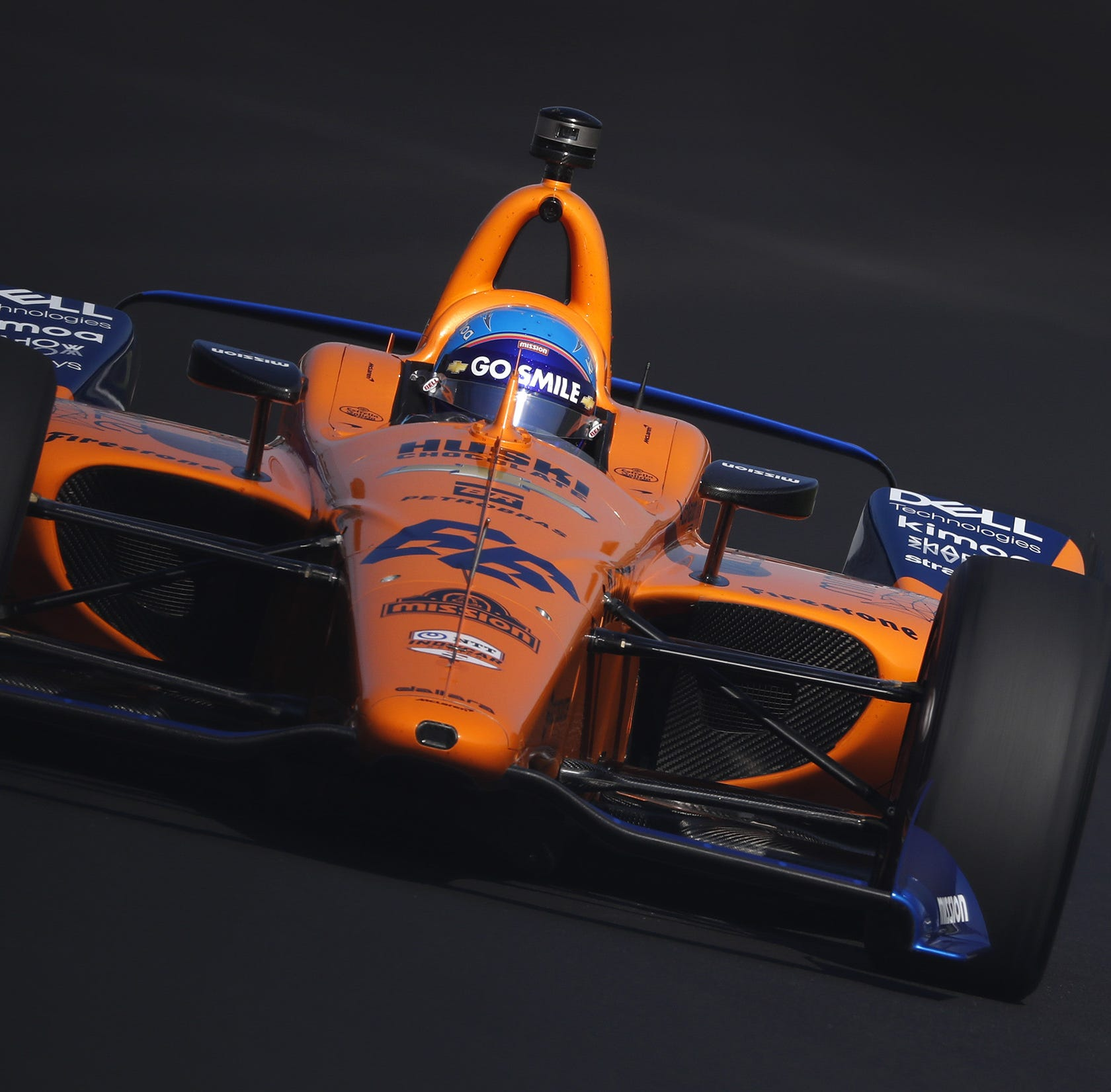 Fernando Alonso (66) of McLaren Racing rounds turn one during the morning practice for the Indianapolis 500 at the Indianapolis Motor Speedway on Saturday, May 18, 2019.
