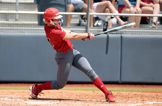 UL second baseman Casidy Chaumont hits a double against Ole Miss in the NCAA Softball Regional May 18 a in Oxford, Miss. Chaumont, who started 31 games for UL in 2019, will transfer to the University of Missouri for her final two seasons of eligibility.