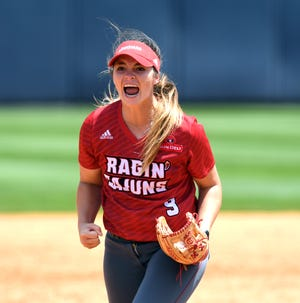 UL pitcher Summer Ellyson yells after getting he last out of the game against Ole Miss as the Ragin' Cajuns play in the NCAA Softball Regional Saturday, May 18, 2019 at Ole Miss Softball Complex in Oxford, Miss. UL defeated Ole Miss 2-0 to advance to the championship game Sunday.