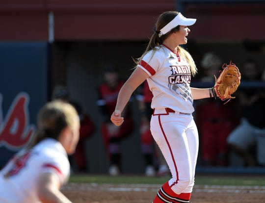 UL pitcher Summer Ellyson yells after getting the Cajuns' last out against Southeast Missouri State in  the NCAA Softball Regional Friday at Ole Miss Softball Complex in Oxford, Mississippi. UL defeated Southeast Missouri State 3-2.