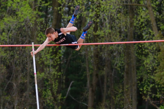 Pinckney's Jake Loria finished second in the pole vault at the Division 1 track and field regional at Milford on Friday, May 17, 2019.