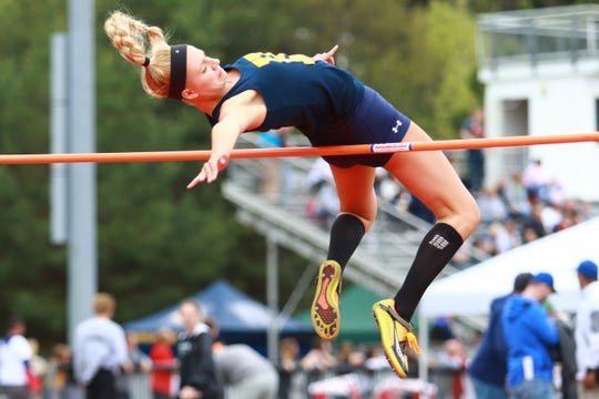 Hartland's Lindsey Strutz set a school record by clearing 5 feet, 6 inches in the high jump at the Division 1 track and field regional at Milford on Friday, May 17, 2019.