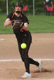 Lucas' Erica Westfield pitched her heart out during the Lady Cubs' district final loss to Monroeville on Friday night.