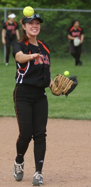 Lucas' Brooke Niswander makes a play at second base during the Lady Cubs' district final loss to Monroeville on Friday night.