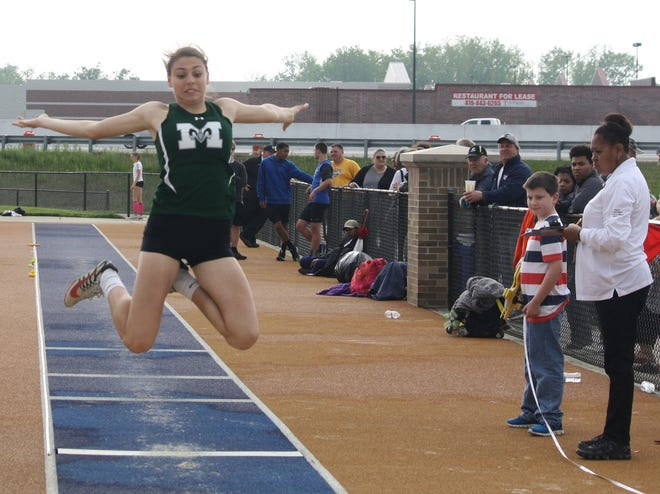 Madison's Kari Eckenwiler competes in the long jump during the 2019 Division I District Track and Field Meet.