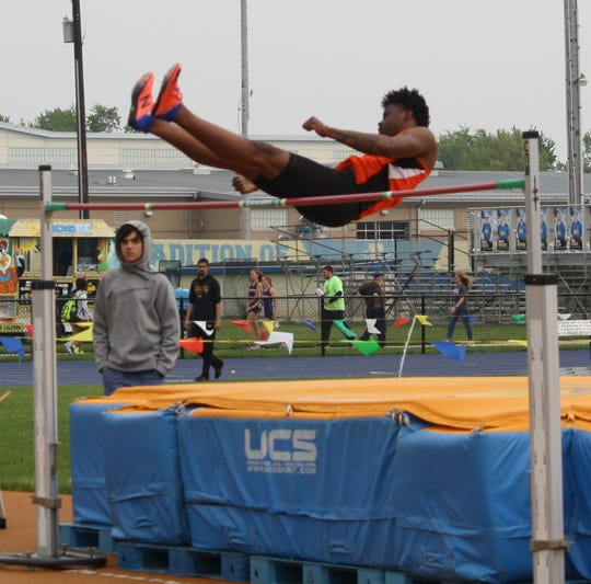 Mansfield Senior's Angelo Grose won four events, including the high jump, in the Division I district track and field meet.