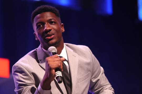Anthony Miller speaks during the third annual Commercial Appeal Sports Awards at the Orpheum on Friday, May 17, 2019.