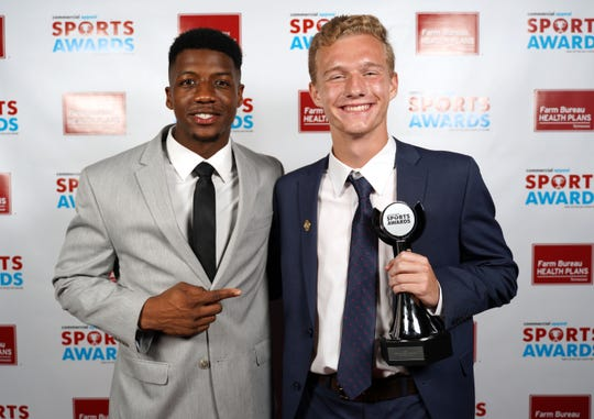 Logan Stoltenborg of Briarcrest, right, poses with Anthony Miller at the 2019 Commercial Appeal Sports Awards.