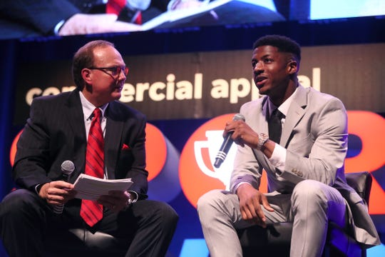 Dr. Jerry Punch interviews local star athlete and current Chicago Bear Anthony Miller during the third annual Commercial Appeal Sports Awards at the Orpheum on Friday, May 17, 2019.