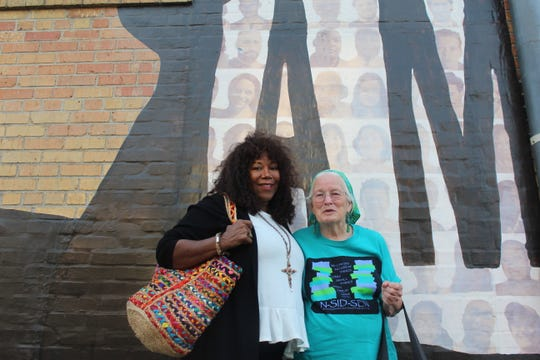 Civil Rights activist Ruby Bridges (left) and Joan Mulholland (right) pose for a photo outside of the National Civil Rights Museum leading up to Bridges' book signing on Friday, May 17, 2019.