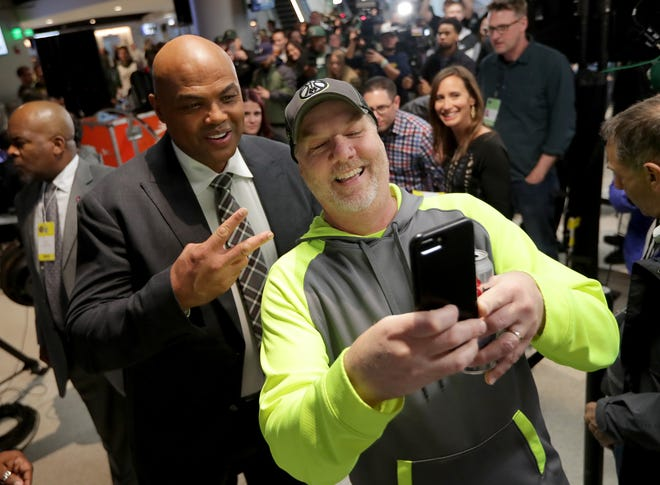 TNT broadcaster Charles Barkley poses for a photo with Richard Murphy of Germantown before Game 2 of the NBA Eastern Conference finals at Fiserv Forum on Friday. The Bucks faced the Toronto Raptors.