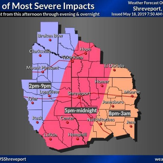 Shreveport, Monroe, Ruston under severe weather threat again