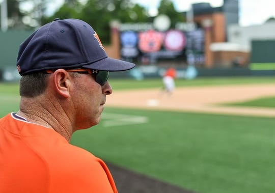 Auburn coach Butch Thompson looks on during a game against Georgia on May 11, 2019, in Auburn, Ala.