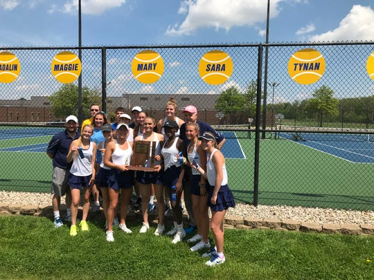 Delta girls tennis celebrates a sectional title. The Eagles defeated the Muncie Central Bearcats, 5-0.