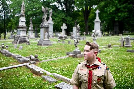 "Boy Scout Ty Smith is working to document each of the more than 18,000 graves at Nashville's Calvary Cemetery, many of which belong to veterans. ""You don't want them to be forgotten, because they're the people that allowed us our freedoms today."""