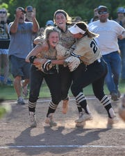 Springfield celebrates their 7 to 0 win over Summit during their TSSAA Class AAA sectional softball game at Springfield High School Friday, May 17, 2019 in Springfield, Tenn.