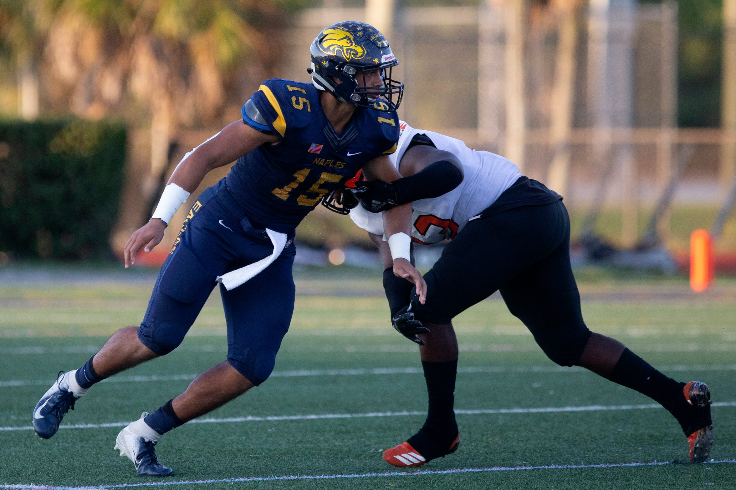 Naples High School's tight end Dominic Mammarelli takes on Miami Carol City High School, Friday, May 17, 2019 at Naples High School.