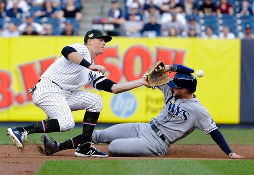 Tampa Bay Rays' Austin Meadows slides past New York Yankees' DJ LeMahieu, left, to steal second base during the first inning of a game Friday, May 17, 2019, in New York.