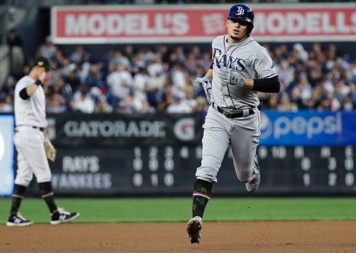 Tampa Bay Rays' Willy Adames runs the bases after hitting a home run during the fourth inning against the New York Yankees in a game Friday, May 17, 2019, in New York.