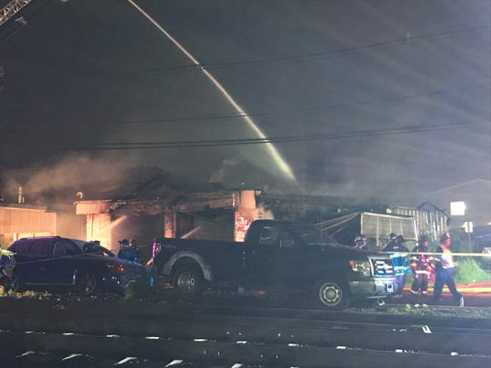 An auto body shop was destroyed by a fire in Wood-Ridge May 17, 2019.