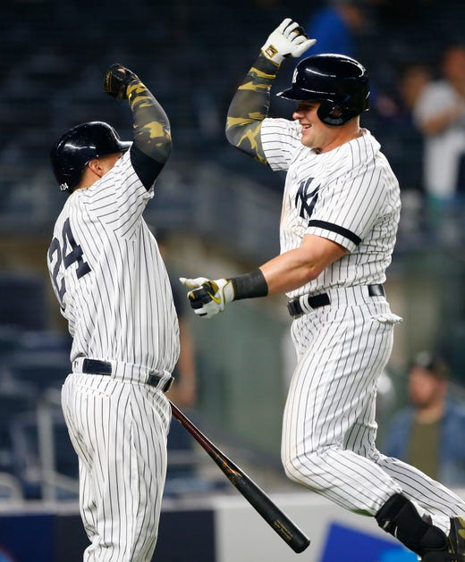 May 17, 2019; Bronx, NY, USA;  New York Yankees first baseman Luke Voit (45) celebrates with catcher Gary Sanchez (24) after hitting a home run in the ninth inning against the Tampa Bay Rays at Yankee Stadium.