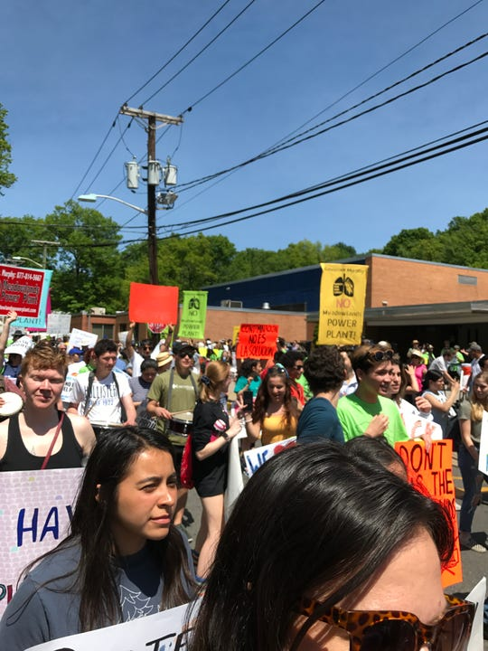 Students from across the county rally in Ridgefield on Saturday.