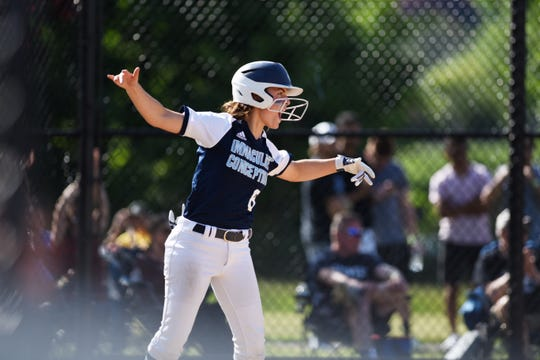 Immaculate Conception plays Ramsey at Overpeck Park in Palisades Park on Saturday May 18, 2019. IC#8 Angella Lignelli cheers as she scores a run.