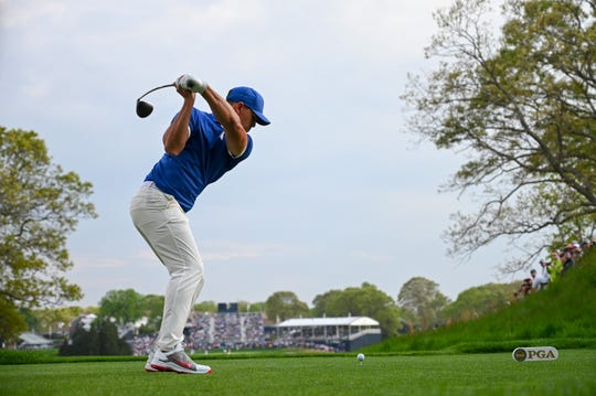 Brooks Koepka of the United States tees off on the 18th hole during the second round of the 2019 PGA Championship at the Bethpage Black course on May 17, 2019 in Farmingdale, New York.