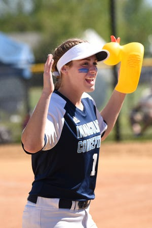 Immaculate Conception plays Ramsey at Overpeck Park in Palisades Park on Saturday May 18, 2019.The Immaculate Conception Blue Wolves have a little fun on the field before the start of the game. IC#10 Jaden Farhat with their rubber ducky mascot.