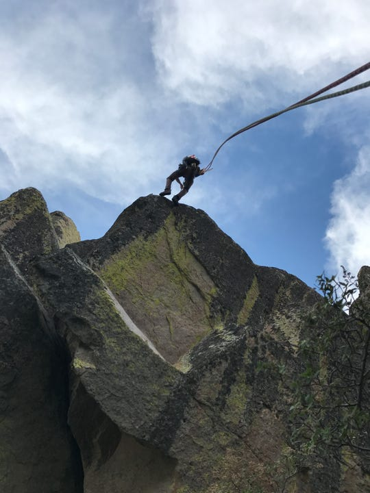 Kevin Boyko rappels off Little Square Top on a previous Organ Mountains traverse attempt