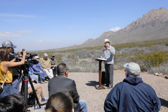 U.S. Sen. Tom Udall, D-N.M., addresses attendees at an event March 21, 2019 to celebrate the creation of official wilderness within the existing Organ Mountains-Desert Peaks National Monument by President Donald Trump and Congress.