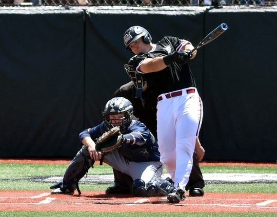 New Mexico State Tristan Peterson hits a home run against Cal Baptist on Friday afternoon at Presley Askew Field.