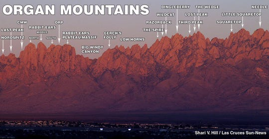 Some of the peaks of the Organ Mountains. Two climbers — Jonathan Tylka and Kevin Boyko — recently traversed all 30 named peaks in 38 hours.
