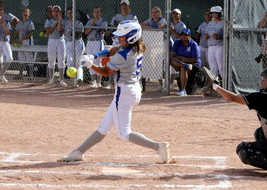Gabby Aragon connects with a pitch during Friday's game against Hobbs. Carlsbad won in four innings, 17-2.