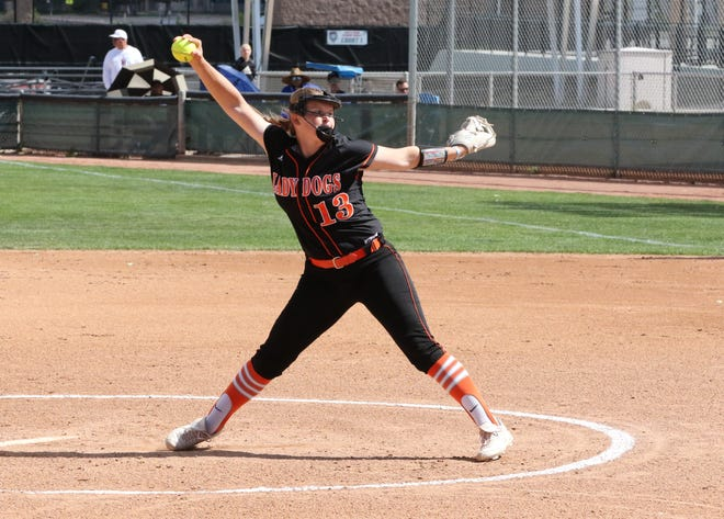 Artesia's Rylee Crandall pitches against Silver in the 2019 4A New Mexico state championship. Crandall verbally committed to attend Baylor in 2022 in September.