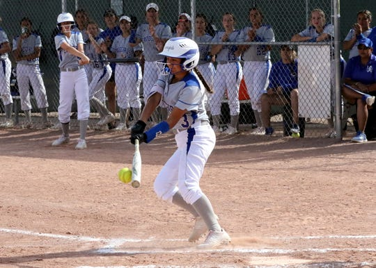 Marissa Reyes connects with a pitch against Hobbs on Friday. Carlsbad won in four innings, 17-2.