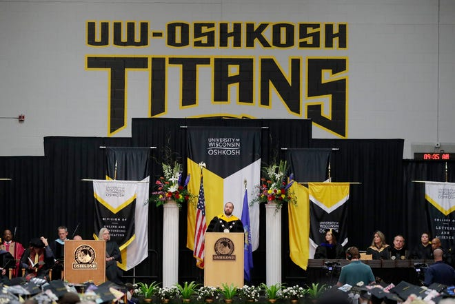 Chancellor Andrew Leavitt speaks at the UW-Oshkosh College of Letters and Science and Division of Online and Continuing Education commencement ceremony on Saturday, May 18, 2019 in Oshkosh, Wis.