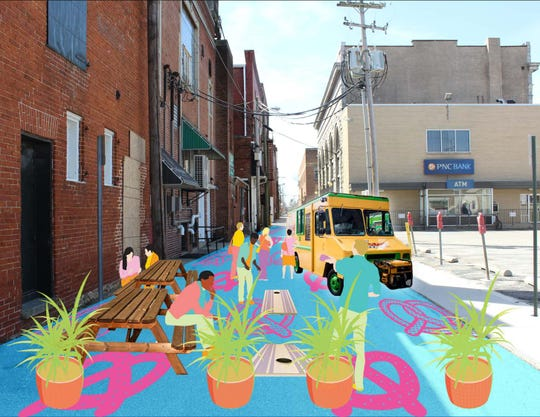 A rendering of a design concept to transform Bank Lane in downtown Hanover into a pedestrian alley. The transformation will be unveiled during the Sip & Stroll event on June 8, 2019.