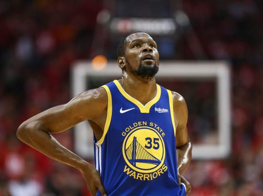 May 6, 2019; Houston, TX, USA; Golden State Warriors forward Kevin Durant (35) reacts after a play during the third quarter against the Houston Rockets in game four of the second round of the 2019 NBA Playoffs at Toyota Center. Mandatory Credit: Troy Taormina-USA TODAY Sports