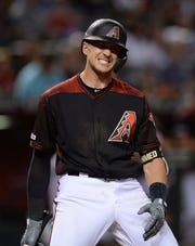 May 17, 2019; Phoenix, AZ, USA; Arizona Diamondbacks shortstop Nick Ahmed (13) reacts during an at bat against the San Francisco Giants during the sixth inning at Chase Field. Mandatory Credit: Joe Camporeale-USA TODAY Sports