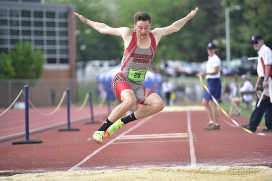 Bermudian Springs' Kolt Byers won the 2A triple jump at the District 3 track and field championships at Shippensburg University on May 18, 2019